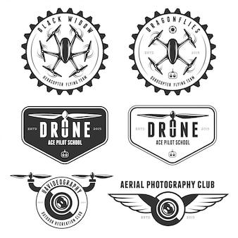 Conjunto de vetores de drone voando logo distintivo do clube
