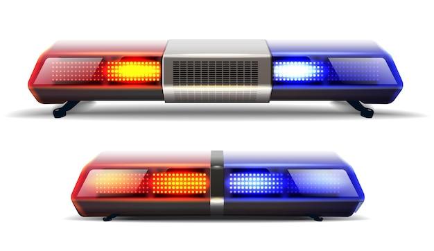 Conjunto de vetores de duas luzes superiores de carro de polícia em vermelho e azul.