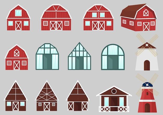 Conjunto de vetores de edifícios e construções agrícolas