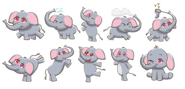 Conjunto de vetores de elefante clipart gráfico