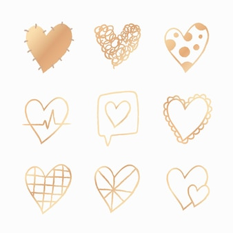 Conjunto de vetores de elemento coração ouro