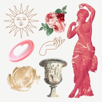 Conjunto de vetores de elemento de colagem digital, ilustração vintage arte de mídia mista