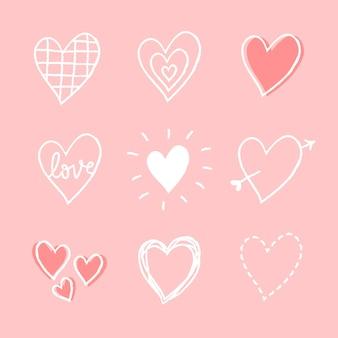 Conjunto de vetores de elemento de coração fofo