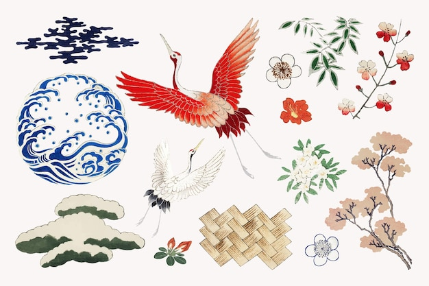 Conjunto de vetores de elemento ornamental kamon japonês, remix de arte da impressão original de watanabe seitei