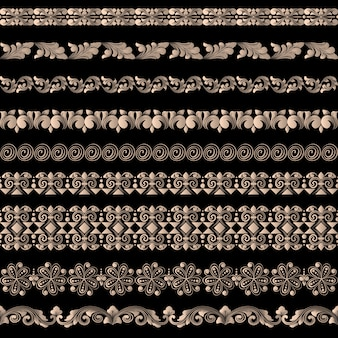 Conjunto de vetores de elementos de borda e elementos de decoração de página. padrões de elementos de decoração de borda. ilustrações vetoriais de fronteiras étnicas.
