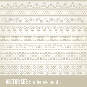 Conjunto de vetores de elementos de borda e elementos de decoração de páginas. padrões de elementos de decoração de fronteira. ilustrações vetoriais de fronteiras étnicas.