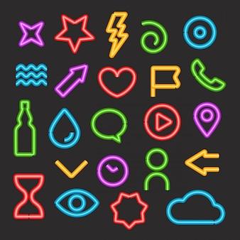 Conjunto de vetores de elementos de cor clara de néon