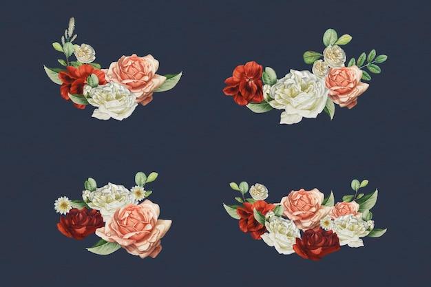 Conjunto de vetores de elementos de design de buquê de flores