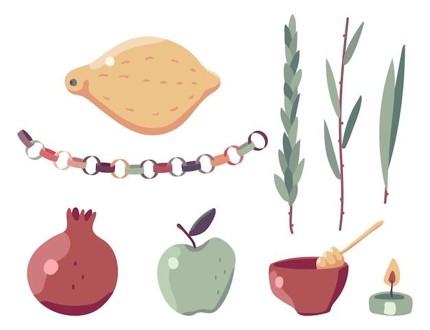 Conjunto de vetores de elementos de design do feriado judaico de sucot isolado em um fundo branco.