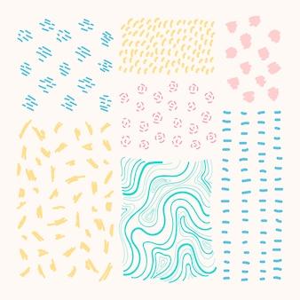 Conjunto de vetores de elementos de design estampados mão desenhada