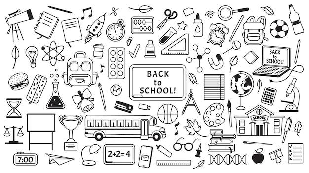 Conjunto de vetores de elementos de educação infantil desenhados à mão desenhos de escola.
