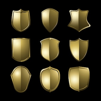 Conjunto de vetores de elementos de escudo barroco dourado
