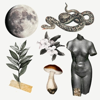 Conjunto de vetores de elementos de ilustração de colagem, arte de mídia mista para impressão