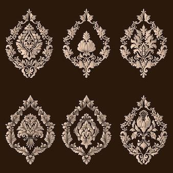 Conjunto de vetores de elementos decorativos de damasco. elementos abstratos florais elegantes para o projeto. perfeito para convites, cartões etc.