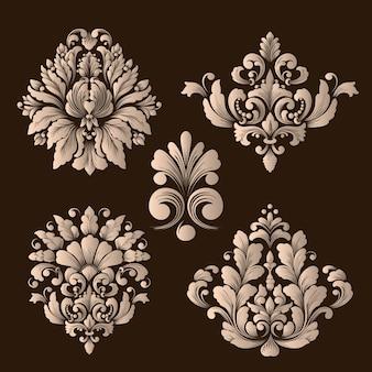 Conjunto de vetores de elementos decorativos de damasco.