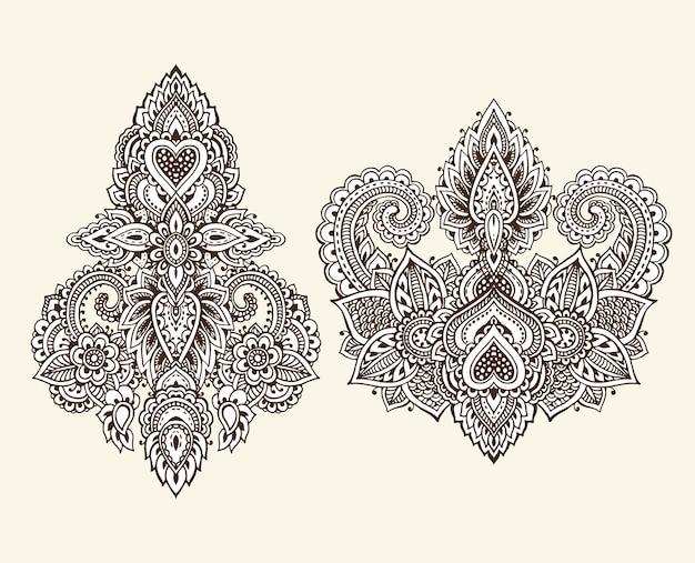 Conjunto de vetores de elementos florais de henna com base em ornamentos asiáticos tradicionais.