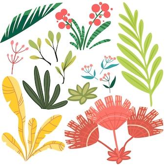 Conjunto de vetores de elementos florais estilizados brilhantes. ramos, folhas e bagas para design
