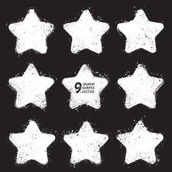Conjunto de vetores de elementos grunge estrelas