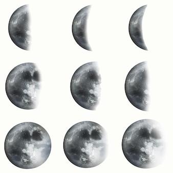 Conjunto de vetores de elementos lunares realistas