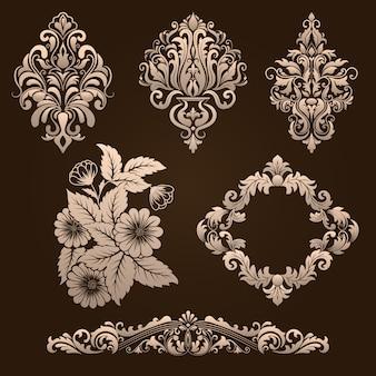 Conjunto de vetores de elementos ornamentais damasco. elegantes elementos abstratos florais para design. perfeito para convites, cartões etc.