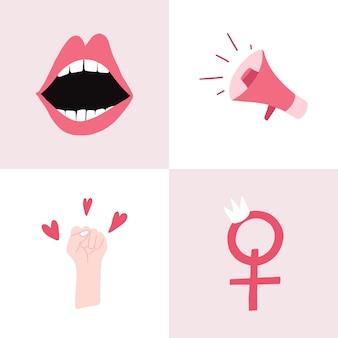 Conjunto de vetores de emblema feminista rosa