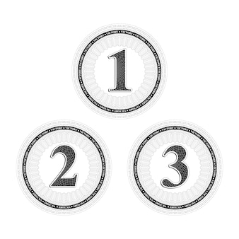 Conjunto de vetores de emblemas de vitória guilloche vintage