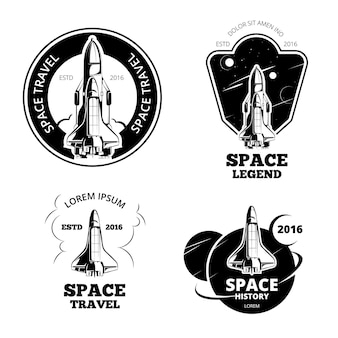 Conjunto de vetores de emblemas, emblemas e logotipos de astronauta espacial. nave de rótulo espacial, logotipo de nave espacial, emblema de nave espacial, nave espacial de lançamento