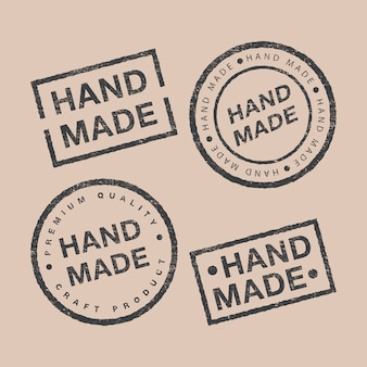 Conjunto de vetores de emblemas lineares e elementos de design de logotipo para feitos à mão em design plano no pano de fundo marrom