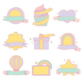 Conjunto de vetores de emblemas pastel fofo
