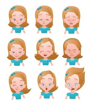 Conjunto de vetores de emoções de menina