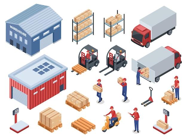 Conjunto de vetores de empilhadeira de caminhão de correio de entrega logística isométrica, armazém, transporte