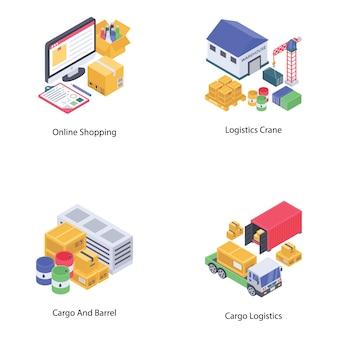 Conjunto de vetores de entrega logística