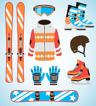 Conjunto de vetores de equipamentos de esqui e snowboard. equipamento de esportes de inverno isolado conjunto de elementos em estilo design plano.