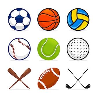 Conjunto de vetores de equipamentos esportivos