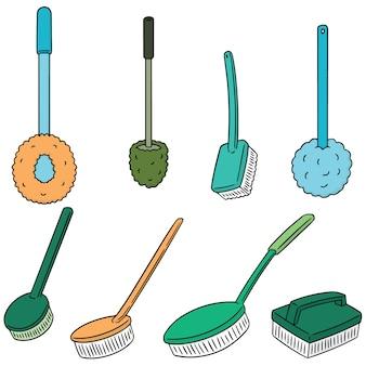 Conjunto de vetores de escova de vaso sanitário