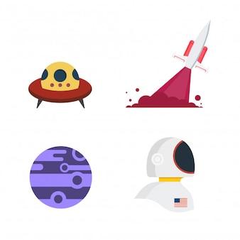 Conjunto de vetores de espaço.