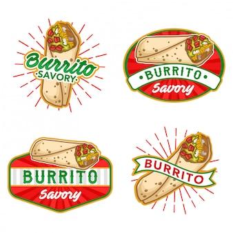 Conjunto de vetores de estoque de logotipo burrito