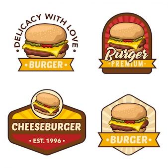Conjunto de vetores de estoque de logotipo de hambúrguer