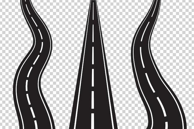 Conjunto de vetores de estradas de asfalto isoladas no espaço transparente. conceito de logística, jornada, entrega e transporte.