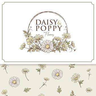 Conjunto de vetores de etiqueta e padrão de logotipo de flores de margarida e papoula