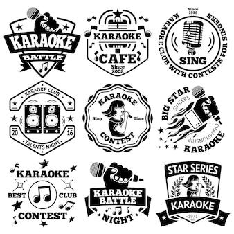 Conjunto de vetores de etiquetas de karaoke, emblemas