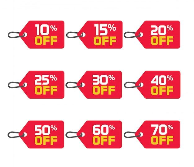 Conjunto de vetores de etiquetas ou emblemas de venda
