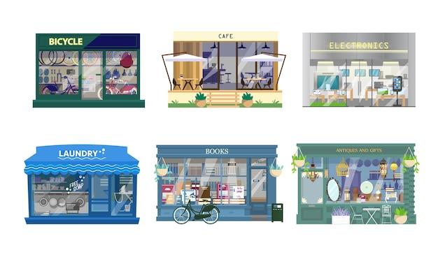 Conjunto de vetores de exteriores de lojas.