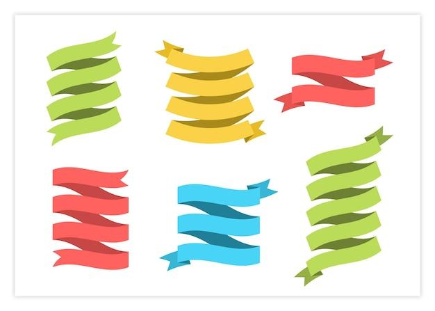 Conjunto de vetores de faixa de fita plana ilustração design vintage rótulos de fita encaracolada e pergaminho curvo