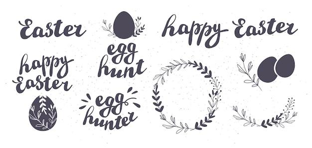 Conjunto de vetores de felicitações de caça ao ovo de páscoa feliz isolado no fundo branco. coleção de inscrições desenhadas à mão e elementos decorativos para cartões de festas, padrões, decoração de presentes, gravuras, etiqueta etc.