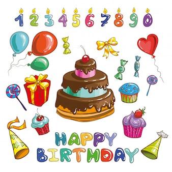 Conjunto de vetores de feliz aniversário colorido.
