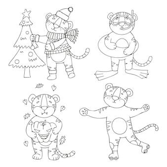 Conjunto de vetores de filhotes de tigre em estilo doodle, cada um corresponde à velha estação