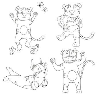 Conjunto de vetores de filhotes de tigre em estilo doodle em diferentes poses