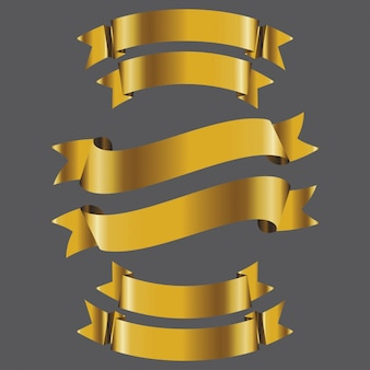 Conjunto de vetores de fita bandeira ouro