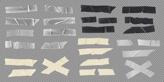 Conjunto de vetores de fitas adesivas realistas, tiras de mascaramento de papel e adesivos transparentes